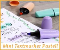 Mini Textmarker Pastell, 6 Stück, von Eberhard Faber